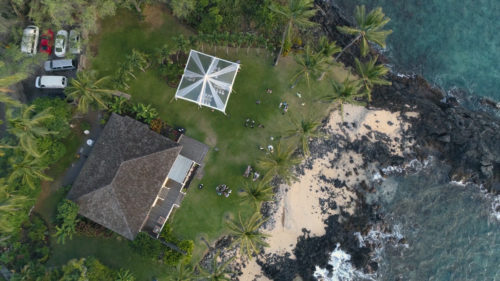 White Orchid Beach House Wedding Drone Shot